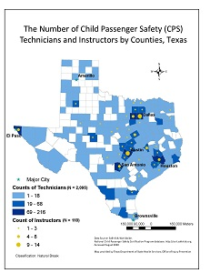 Map of Texas child Passenger Safety Technicians and Instructors.
