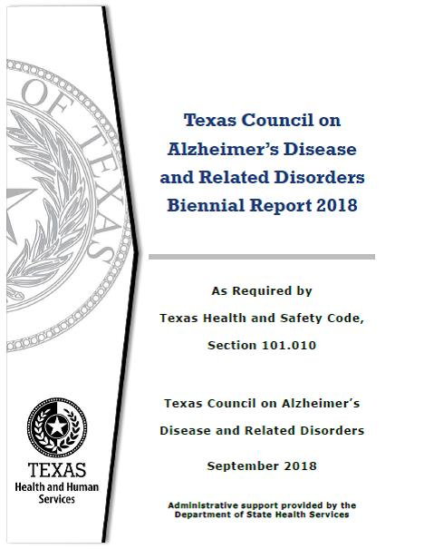Texas Council on Alzheimer's Disease and Related Disorders Biennial Report 2018