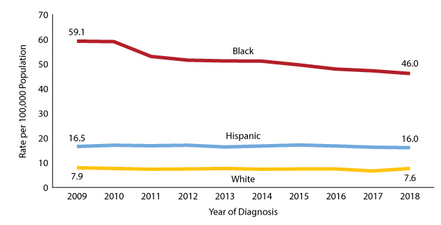 Figure 9: Rates of new HIV diagnosis in Texas by selected race/ethnicity groups, 2009-2018