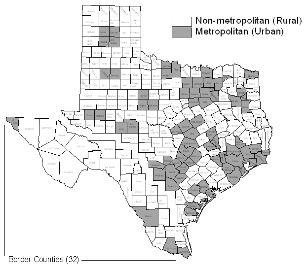 TX Map with Border Counties