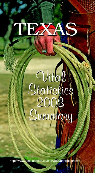 Texas Vital Statistics 2003 Summary Brochure.  Picture of Texas cowboy