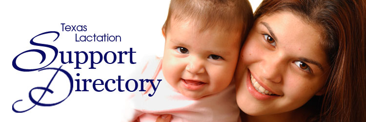 Texas Lactation Support Directory logo, mother holds smiling baby
