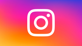Instagram logo: Rainbow icon of a camera.