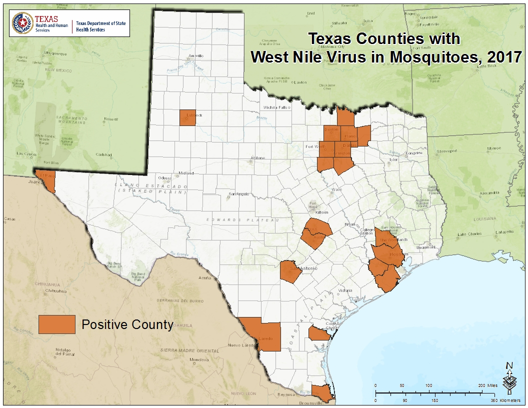 TxMosquitojpg - Map of the texas