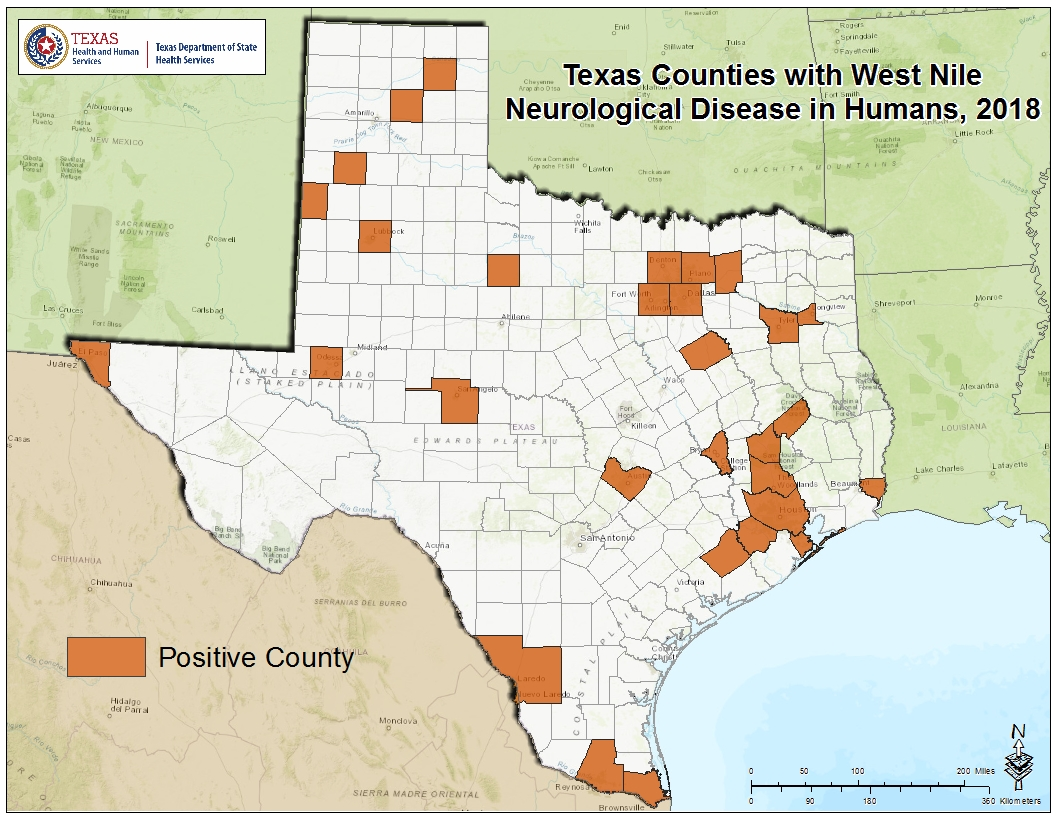 2018 Texas West Nile Virus Maps