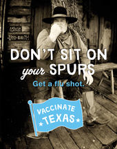 Don't sit on your spurs, get a flu shot poster