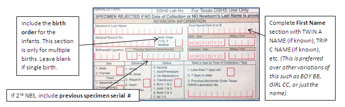 Instructions on filling out the NBS form for multiple births