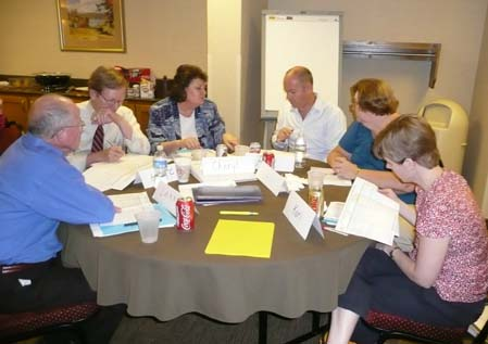 Photo of discussion group (Larry Sweetman, Hutch, Cheryl Hermerath, Reid Sutton, Lois Taylor, and Kari Casas)