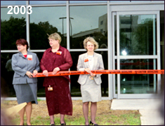 Laboratory managers hold the left side of the ribbon for the ribbon-cutting ceremony during the Grand Opening in 2003. Photo courtesy of Ivan Dudik.