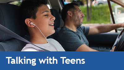Photo of teen and parent in a car - link to Talking to Teens About Vaping page