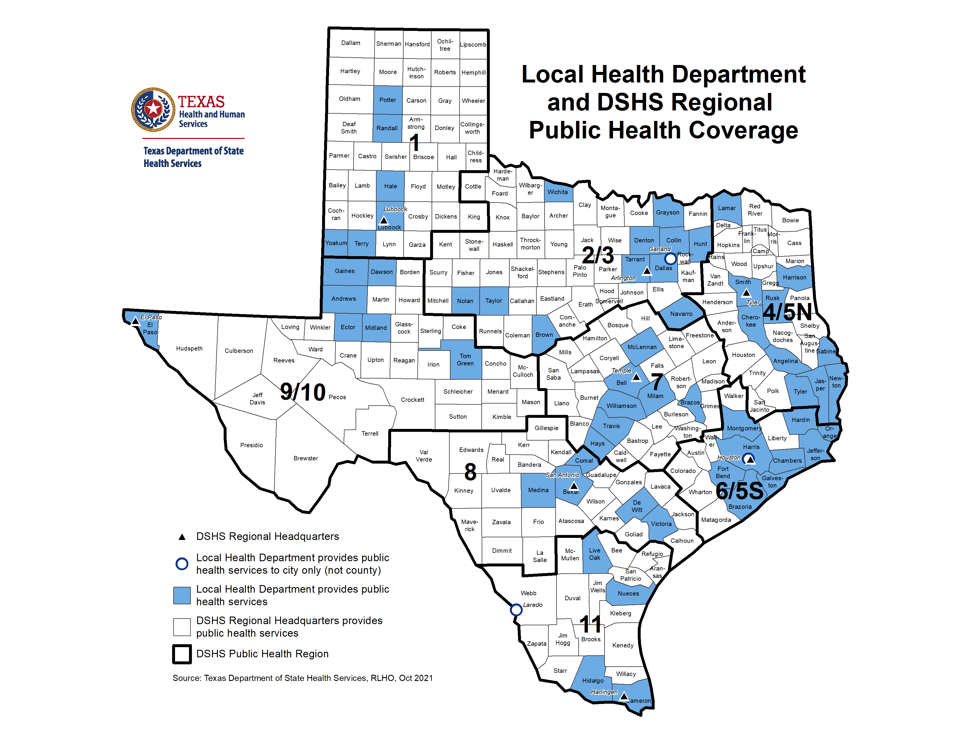 Texas Regions Map Texas Department of State Health Services, Health Service Regions Map