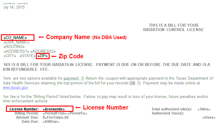 Radiation bill invoice showing locations of company name, zip code, and license number