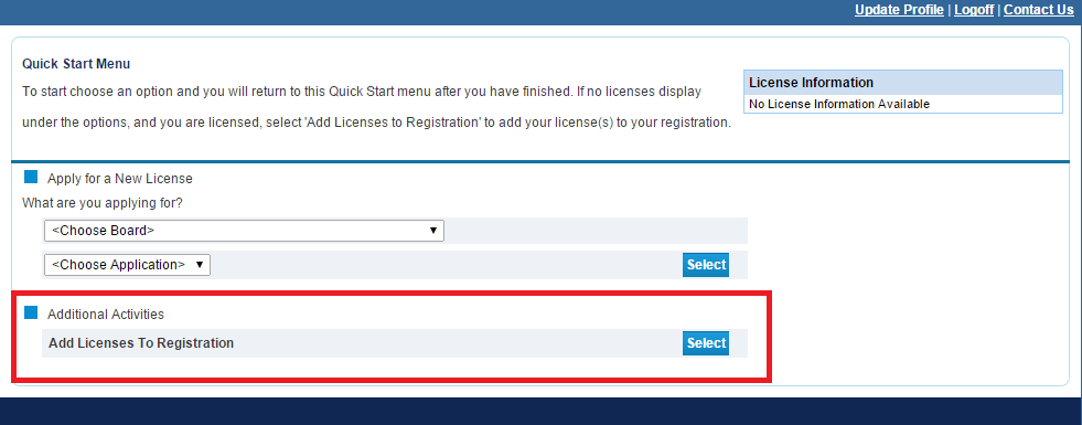 Add Licenses to Registration