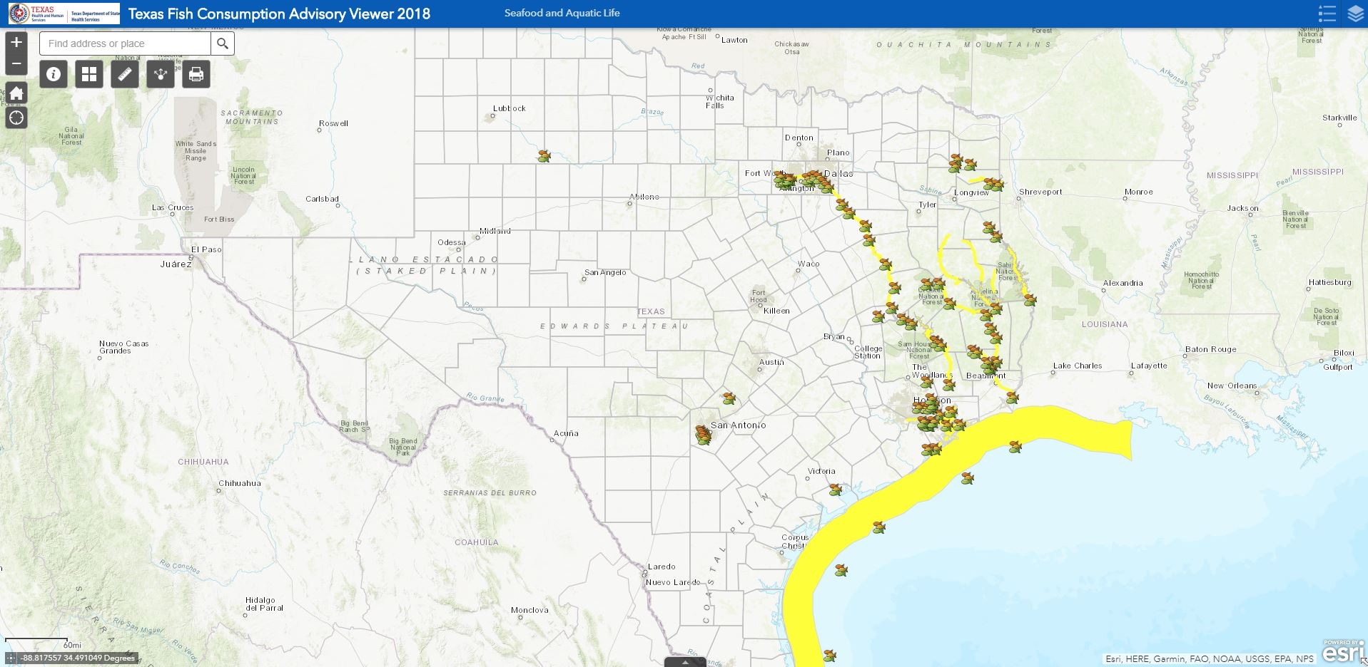 small preview snapshot of Texas Fish Consumption Advisory Viewer